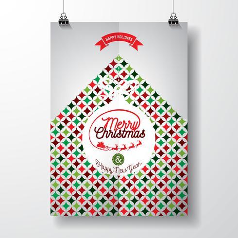 Ilustración vectorial feliz Navidad vacaciones y feliz año nuevo