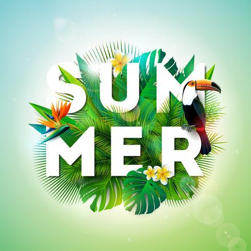 Sommerillustration mit Tukanvogel und Papageienschnabelblume auf tropischem Hintergrund. Exotische Blätter mit Feiertagstypographieelement. Vektor-Design-Vorlage