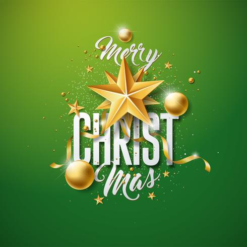 Vector Merry Christmas Illustration with Gold Glass Ball, Cutout Paper Star and Typography Elements on Green Background. Holiday Design for Premium Greeting Card, Party Invitation or Promo Banner.