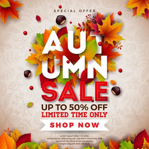 Autumn Sale Design mit fallenden Blättern und Beschriftung auf hellem Hintergrund. Herbstliche Vektor-Illustration mit Sonderangebot-Typografie-Elementen für Kupon