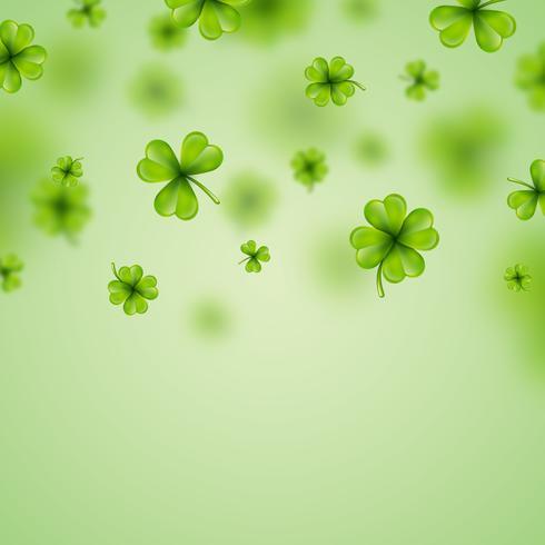 Saint Patricks Day achtergrondontwerp met groene klaverblaadjes