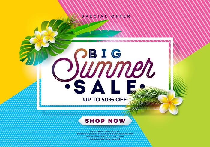 Estate vendita Design con fiori e foglie esotiche su sfondo di colore astratto. Illustrazione floreale tropicale di vettore con gli elementi di tipografia di offerta speciale per il buono