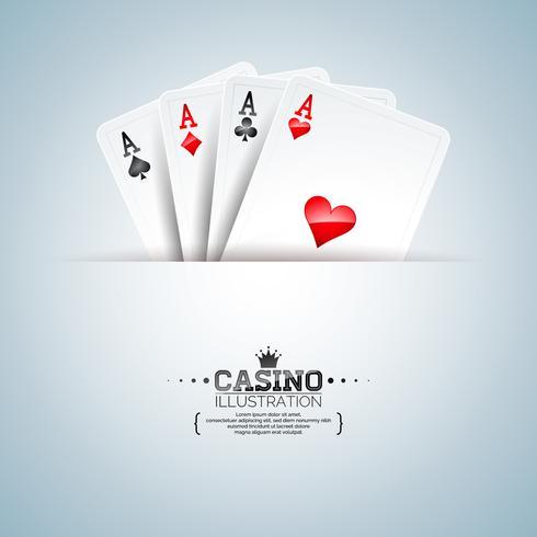 Vector a ilustração em um tema do casino com os cartões do pôquer no fundo limpo. Design de jogo para cartaz, cartão, convite ou promo banner.