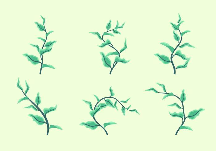 Gröna blad Clipart Vector Set