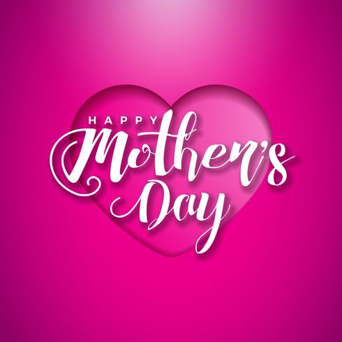 Tarjeta de felicitación feliz del día de madres con el hogar en fondo rosado. Vector la plantilla del ejemplo de la celebración con el diseño tipográfico para la bandera, aviador, invitación, folleto, cartel.