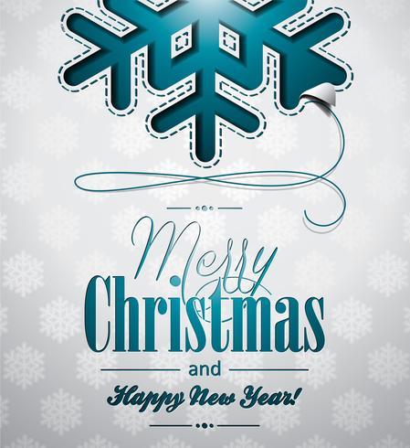 Vector illustration de Noël avec des flocons de neige sur fond clair