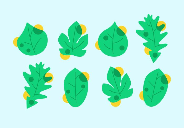Awesome Green Leaves Clipart Set Vektoren