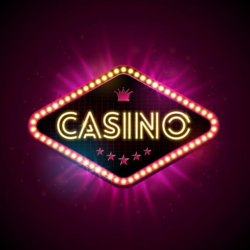 Casino Illustration med glänsande belysningsdisplay och neonljusbrev på violett bakgrund. Vektor gambling design med för inbjudan eller promo banner.