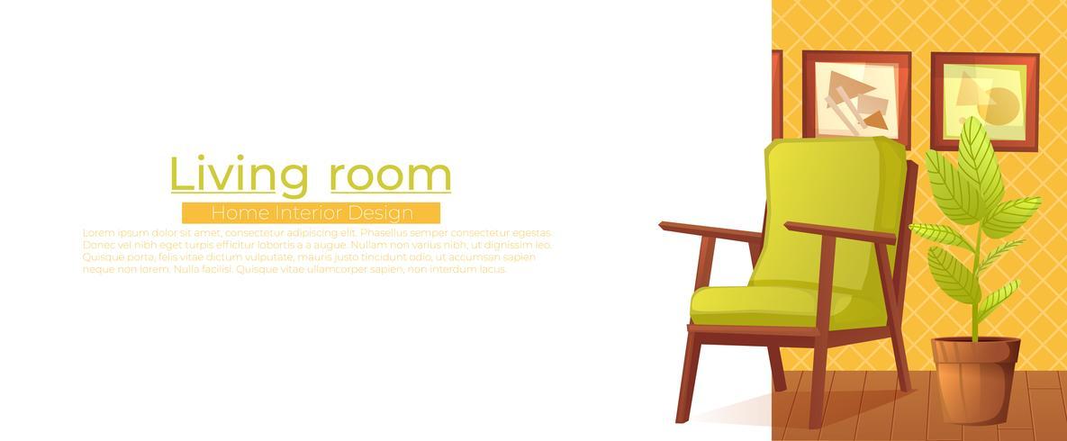 Living room home interior design banner