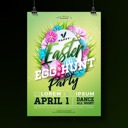 Vector Easter Party Flyer Illustration with painted eggs, flowers and typography