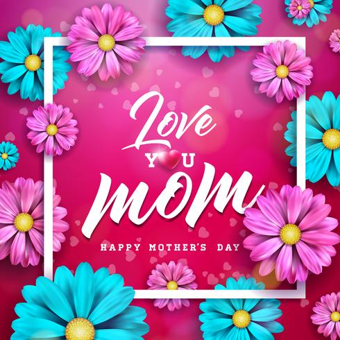 Diseño feliz de la tarjeta de felicitación del día de madres con la flor y elementos tipográficos en fondo rojo. Plantilla de la ilustración de la celebración del vector de la mamá de I Love You para la bandera, aviador, invitación, folleto, cartel.
