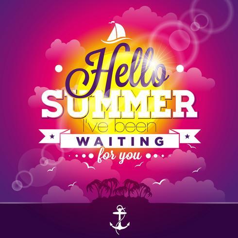 Olá Verão, estive esperando por você citação de inspiração sobre fundo de paisagem do oceano.