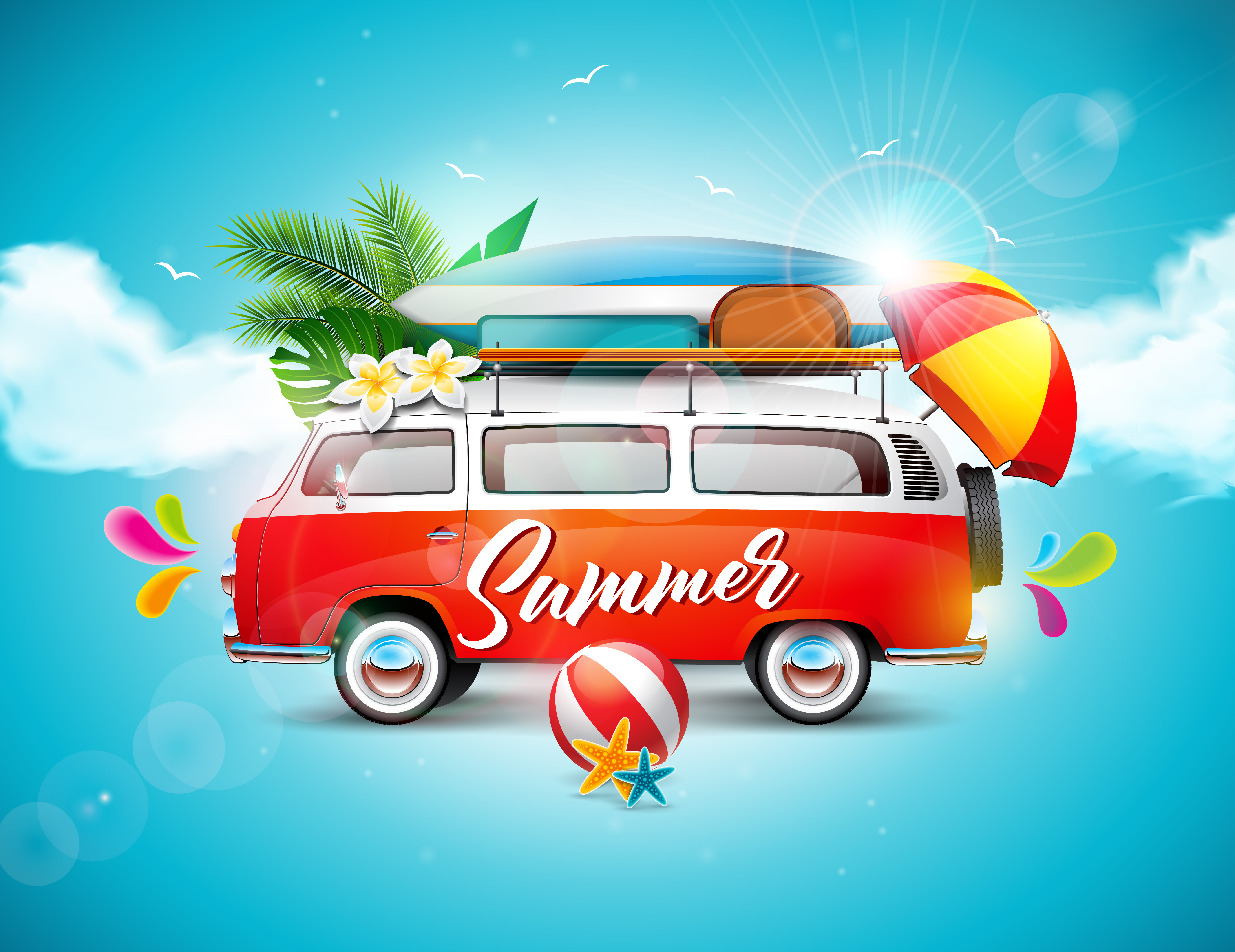 Enjoy Tropical Summer Holidays Backgrounds Vector 04 Free: Vector Summer Holiday Illustration On Blue Sky And Cloud