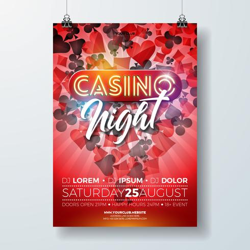 Vector Casino night flyer illustration with gambling design elements and shiny neon light lettering on red background. Luxury invitation poster template.