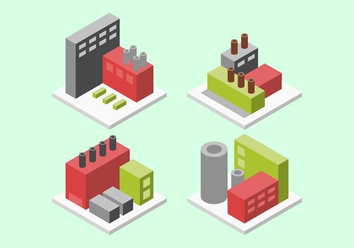Verbazingwekkende isometrische industriële gebouwen instellen vectoren
