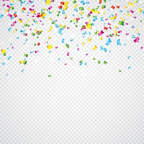 Färgglada Vector Confetti Illustration på genomskinlig bakgrund.