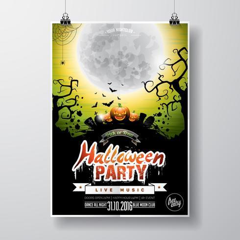 Diseño del aviador del partido de Halloween del vector con los elementos y la calabaza tipográficos en fondo verde.