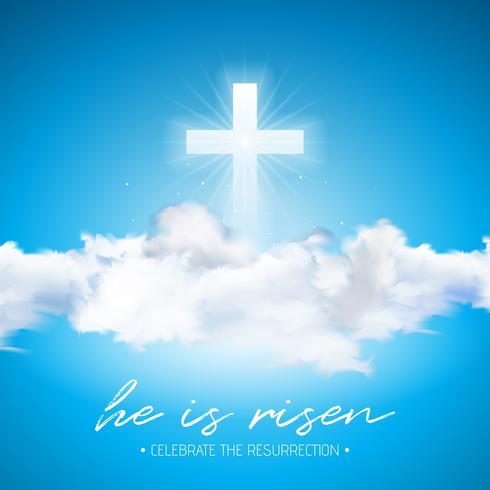 Ilustração do feriado da Páscoa com cruz e nuvem no fundo do céu azul. Ele está ressuscitado. vetor