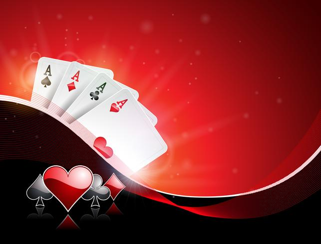 Vector illustration on a casino theme with playing suit and poker cards on red background. Gambling design for invitation or promo banner. - Download Free Vectors, Clipart Graphics & Vector Art