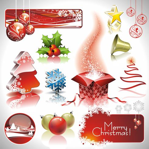 Vector Holiday collection for a Christmas theme with 3d elements.