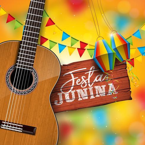 Festa Junina Illustration med akustisk gitarr, Party Flags och Paper Lantern på gul bakgrund. Typografi på Vintage Wood Table. Vector Brasilien juni festival design