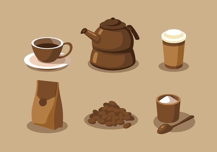 Conjunto de vectores de imágenes prediseñadas de elementos de café