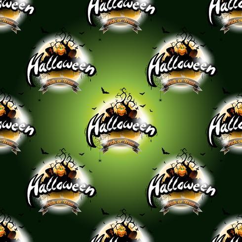 Gelukkige Halloween naadloze patroonillustratie met maan en pompoen op donkergroene achtergrond.