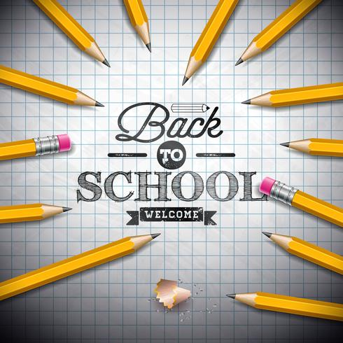 Back to school design with graphite pencil and typography lettering on notebook background. Vector illustration for greeting card, banner, flyer, invitation, brochure or promotional poster.