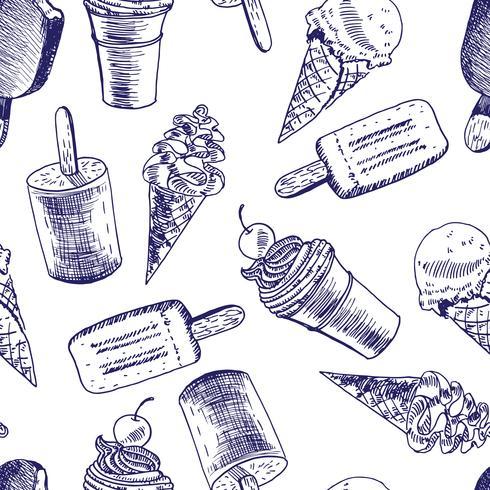 Esquisse de fond transparente Doodle Ice Cream