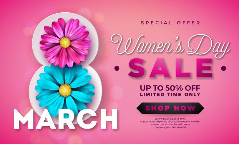 Diseño de la venta del día de las mujeres con hermosa flor colorida sobre fondo rosa