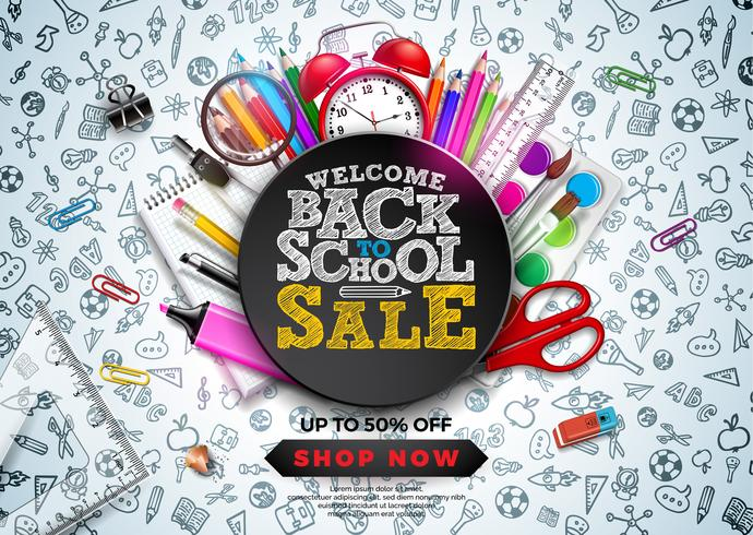 Retour à la conception de vente d'école avec crayon coloré, réveil et autres articles d'école sur fond dessiné à la main Doodles. Illustration de vecteur d'école avec typographie pour Coupon
