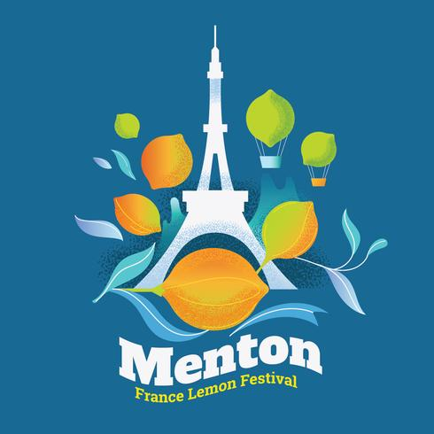 Ilustración del Festival del Limón (Fete du Citron) en la ciudad de Menton en la Riviera francesa vector