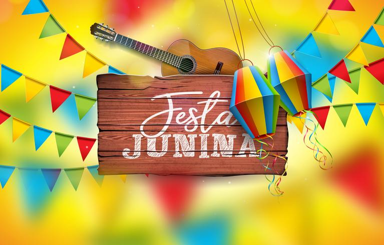 Festa Junina Illustration with Acoustic Guitar, Party Flags and Paper Lantern on Yellow Background. Typography on Vintage Wood Table. Vector Brazil June Festival Design
