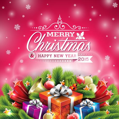 Vector el ejemplo de la Navidad con diseño tipográfico y los elementos brillantes del día de fiesta en fondo rojo.