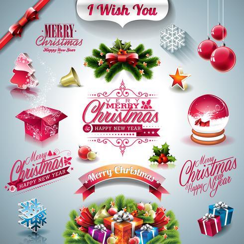 Vector Holiday insieme per un tema di Natale con elementi 3d