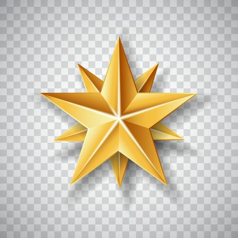 Isolated Gold paper Christmas Star on transparent background. Vector illustration.