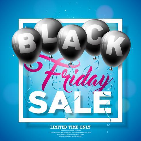 Black Friday Vente Vector Illustration avec des ballons brillants sur fond sombre. Modèle de conception de promotion pour bannière ou une affiche.