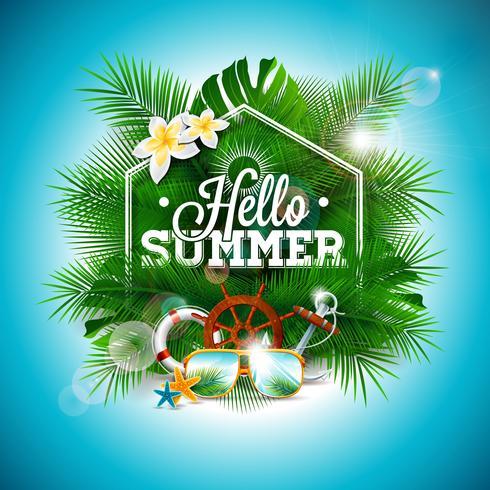 Vector el ejemplo tipográfico del día de fiesta del tiempo de verano en fondo de las hojas de palma.