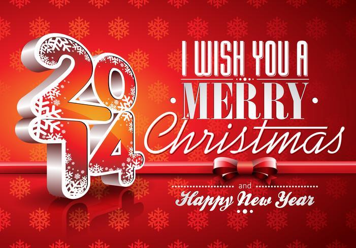 Vector el fondo rojo de la celebración de la Feliz Año Nuevo 2014 con la cinta.