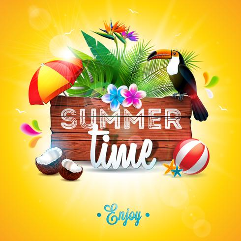 Vector zomertijd vakantie typografische illustratie met toucan vogel op vintage houten achtergrond. Tropische planten, bloemen, strandbal, kokosnoot en zonnescherm met blauwe hemel. Ontwerpsjabloon voor banner
