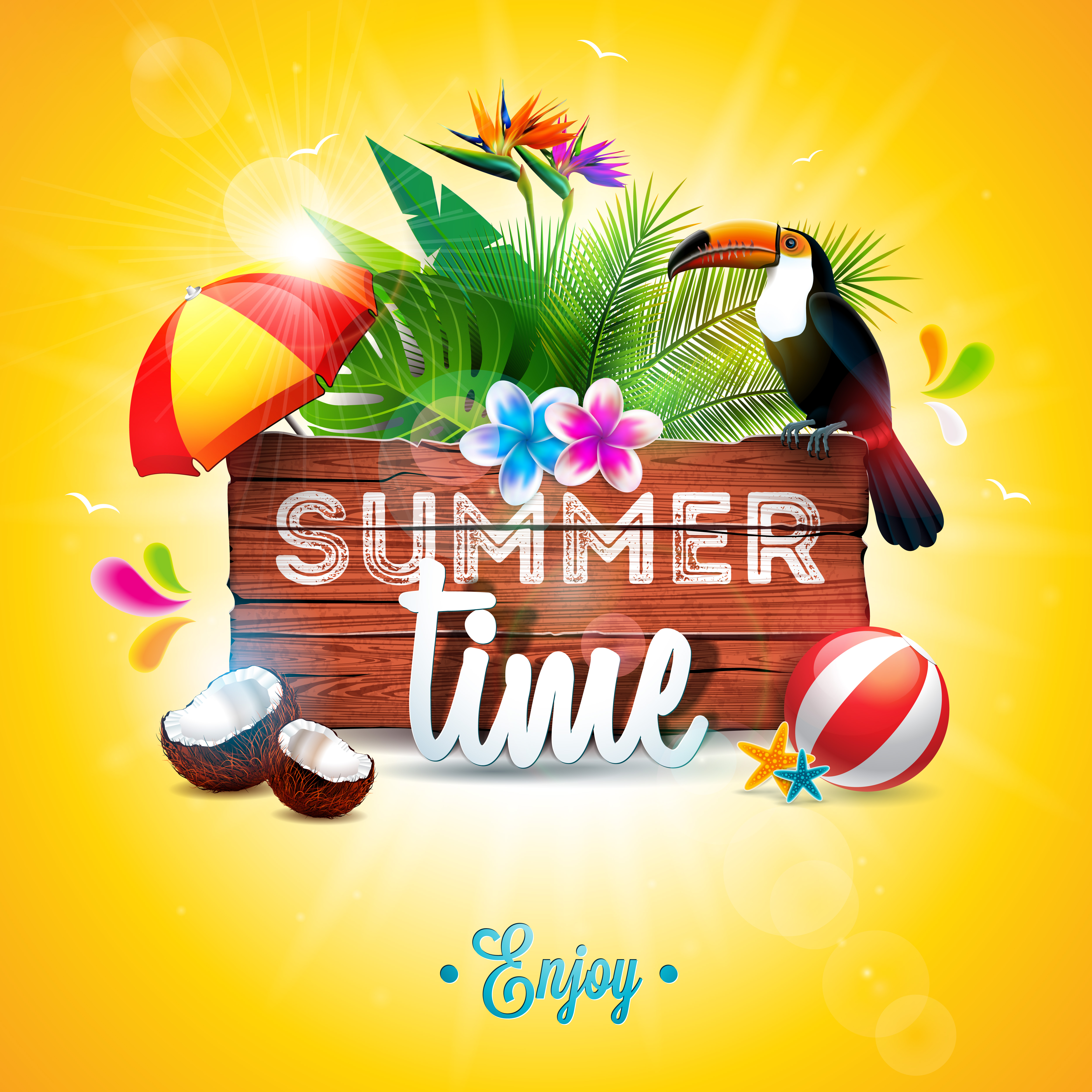 Vector Summer Time Holiday Typographic Illustration With
