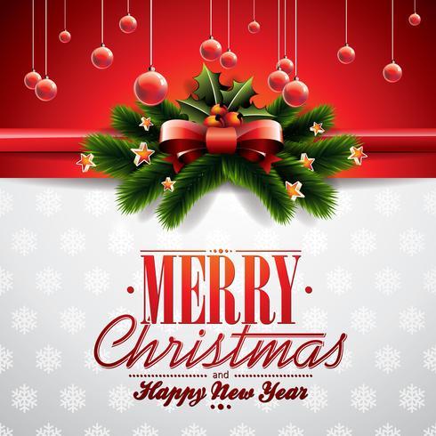 Vector a ilustração de Natal com fita e elementos brilhantes de férias
