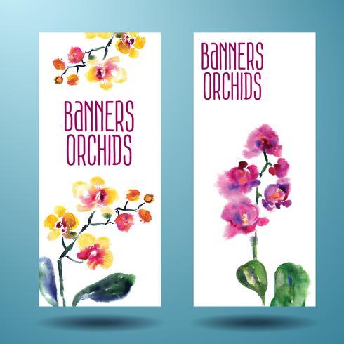 Carta acquerello dipinto con orchidea