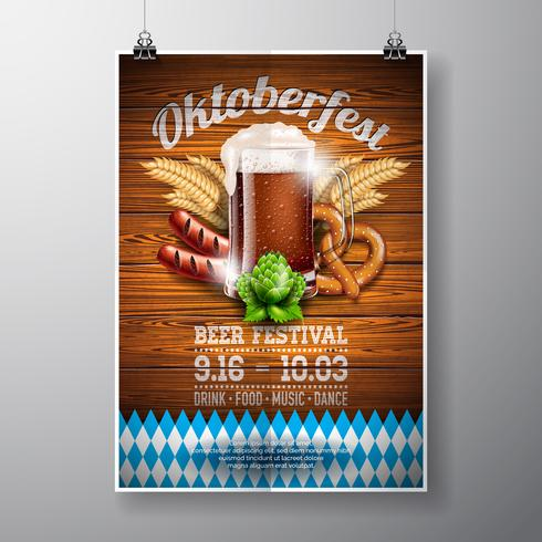 Oktoberfest poster vector illustration with fresh dark beer on wood texture background.