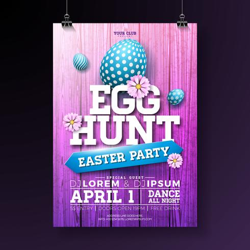 Vector Egg Hunt Easter Party Flyer Illustration with painted eggs, flowers