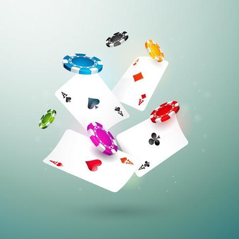 Illustrazione di caduta chip e poker carte casinò realistico su sfondo pulito. Concetto di gioco d'azzardo vettoriale.