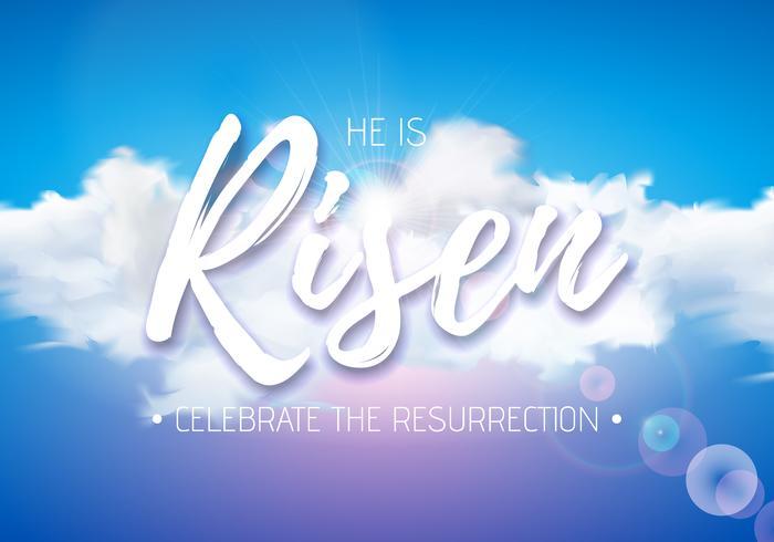 Illustrazione di festa di Pasqua con luce celeste e nuvola sul fondo del cielo blu