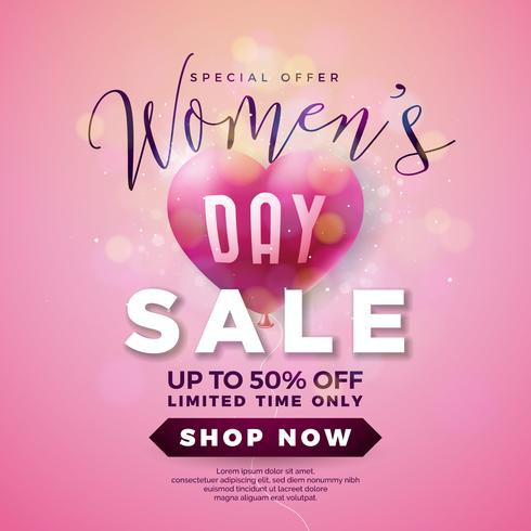 Womens Day Sale Design with Air Balloon Heart on Pink Background