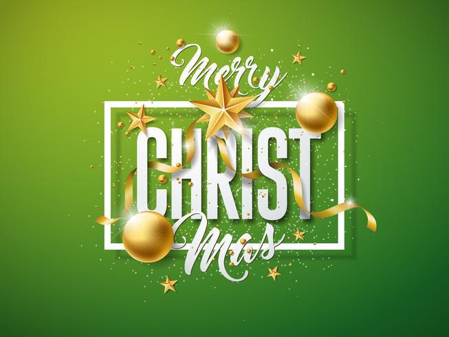Vector Merry Christmas-illustratie met gouden glazen bal, knipsel Paper Star en typografie elementen op groene achtergrond. Vakantieontwerp voor premium wenskaart, feestuitnodiging of promo-banner.