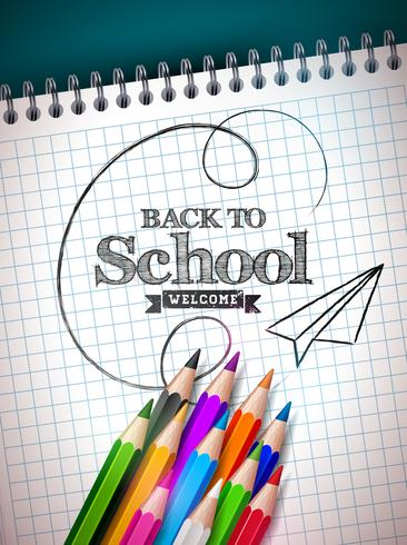 Tillbaka till skoldesign med färgstark penna och anteckningsbok på blå bakgrund. Vektor illustration med hand bokstäver för hälsningskort, banner, flygblad, inbjudan, broschyr eller PR-affisch.